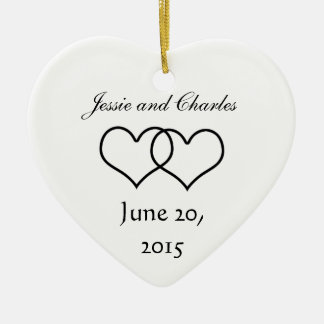 Interlocked Hearts - Black and White Double-Sided Heart Ceramic Christmas Ornament