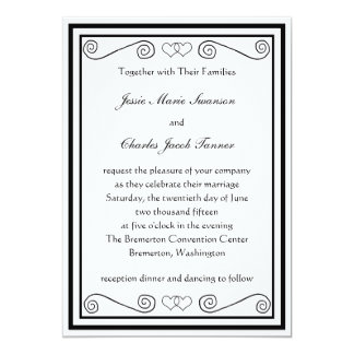 Interlocked Hearts Wedding Invite - Black & White
