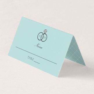 Interlocked Rings Robin's Egg Blue Monogrammed Place Card