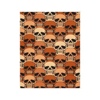 Interlocking Brown Skull Pattern Stretched Canvas Prints