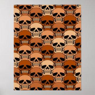 Interlocking Brown Skull Pattern Poster