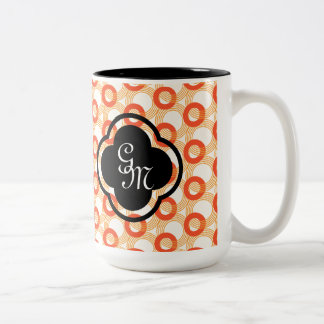 Interlocking circles pattern Orange Two-Tone Coffee Mug