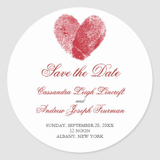 Interlocking Fingerprints Save the Date Sticker