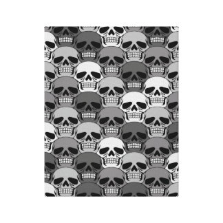 Interlocking Grey Skull Pattern Gallery Wrap Canvas