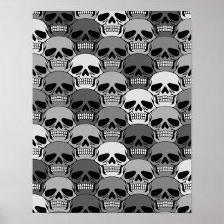 Interlocking Grey Skull Pattern Posters
