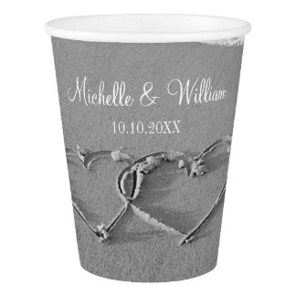 Interlocking heart in beach sand wedding party cup