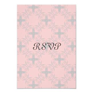 Interlocking Hearts Flower Grey RSVP Card