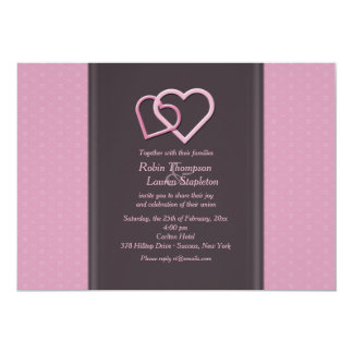 Interlocking Hearts Lesbian Wedding Invitation