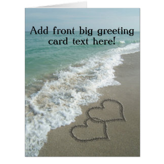 Interlocking Hearts on Beach Sand Card
