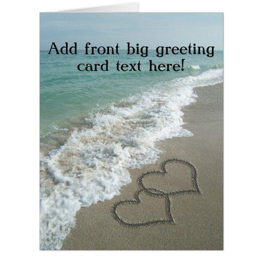 Interlocking Hearts on Beach Sand Card