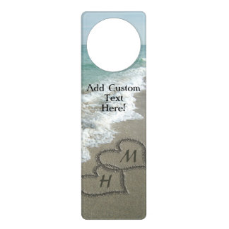 Interlocking Hearts on Beach Sand Door Hanger