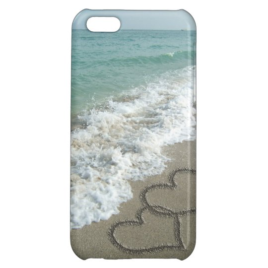 Interlocking Hearts on Beach Sand iPhone 5C Cover