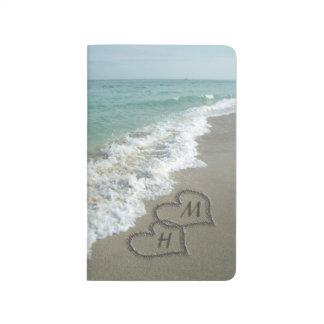 Interlocking Hearts on Beach Sand Journal