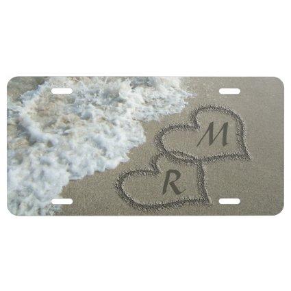Interlocking Hearts on Beach Sand License Plate