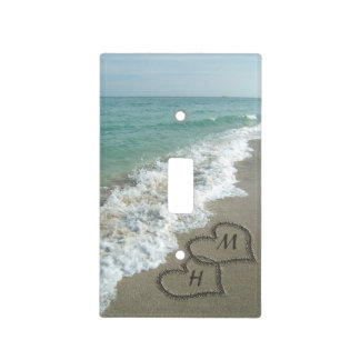 Interlocking Hearts on Beach Sand Light Switch Cover