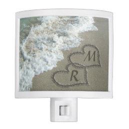 Interlocking Hearts on Beach Sand Night Light