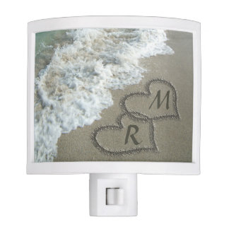 Interlocking Hearts on Beach Sand Nite Lites