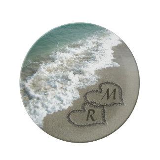 Interlocking Hearts on Beach Sand Porcelain Plate