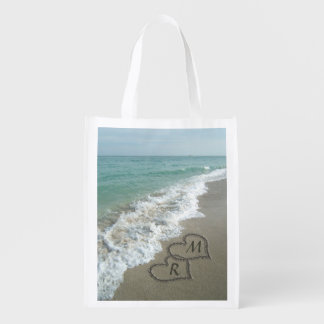 Interlocking Hearts on Beach Sand Reusable Grocery Bags