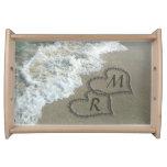 Interlocking Hearts on Beach Sand Serving Tray
