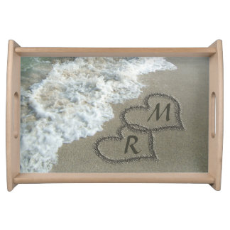 Interlocking Hearts on Beach Sand Serving Tray