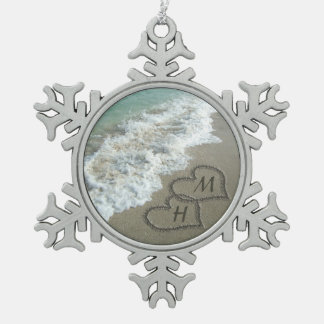 Interlocking Hearts on Beach Sand Snowflake Pewter Christmas Ornament