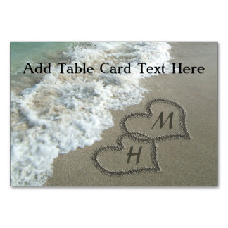 Interlocking Hearts on Beach Sand Table Cards