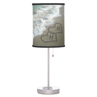 Interlocking Hearts on Beach Sand Table Lamp