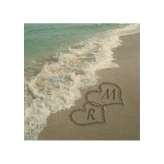 Interlocking Hearts on Beach Sand Wood Wall Art