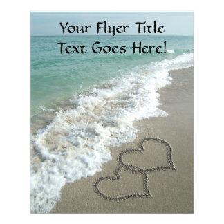 Interlocking Hearts on Sand Beach, Ocean/Wedding Flyer