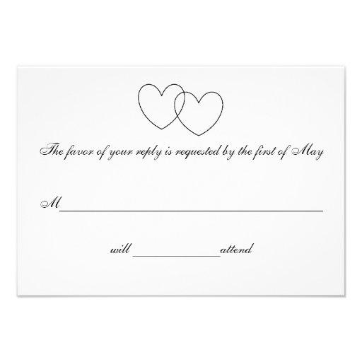 """Interlocking Hearts"" Response Cards Invite"