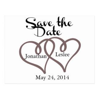 Interlocking Hearts - Save the Date Postcard