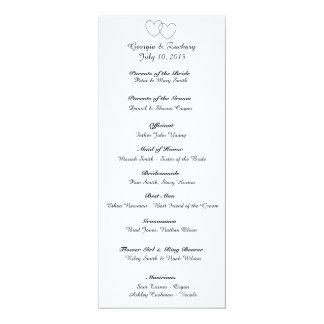 """Interlocking Hearts"" Wedding Program Card"
