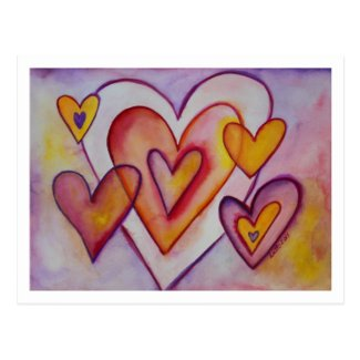 Interlocking Love Hearts Custom Art Postcards