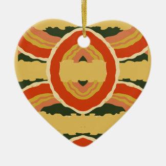 Interlocking Orange and Moss Ceramic Ornament