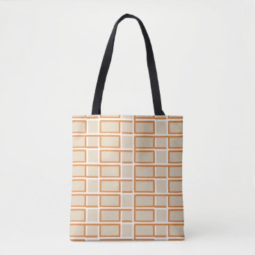 Beach Themed Interlocking Orange and White Rectangle Pattern Tote Bag