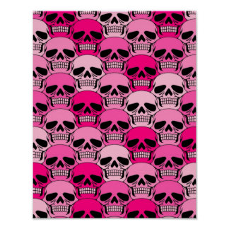 Interlocking Pink Skull Pattern Poster