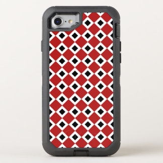 Interlocking Red, White, and Black Diamond Pattern OtterBox Defender iPhone 7 Case