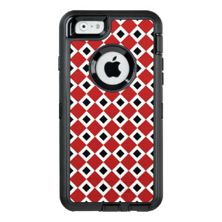 Interlocking Red, White, and Black Diamond Pattern OtterBox Defender iPhone Case