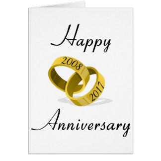 Interlocking Rings - Engraved custom Wedding Date Card