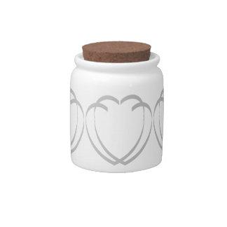 Interlocking Silver Hearts Candy / Sugar Jar Candy Jar