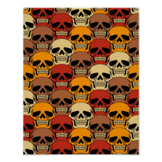 Interlocking Skull Pattern Print