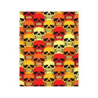 Interlocking Skull Pattern Red Orange and Yellow Canvas Prints