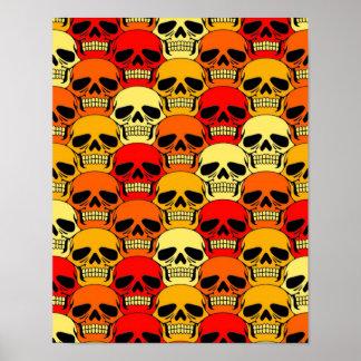 Interlocking Skull Pattern Red Orange and Yellow Posters