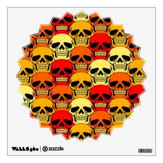 Interlocking Skull Pattern Red Orange and Yellow Wall Decal