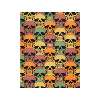 Interlocking Skull Pattern with Faded Color Canvas Prints