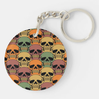 Interlocking Skull Pattern with Faded Color Keychain