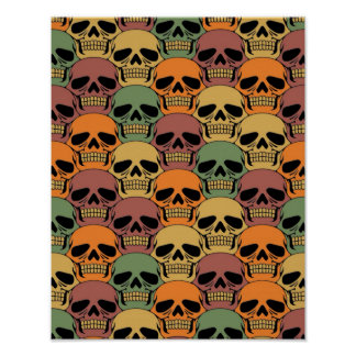 Interlocking Skull Pattern with Faded Color Poster