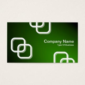 Interlocking Squares 3d - Spotlit - Green Business Card