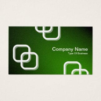 Interlocking Squares 3d - Spotlit - Green (Gold) Business Card